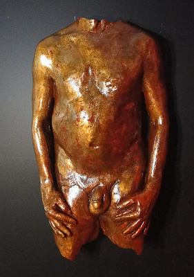 gold leaf male torso sculpture