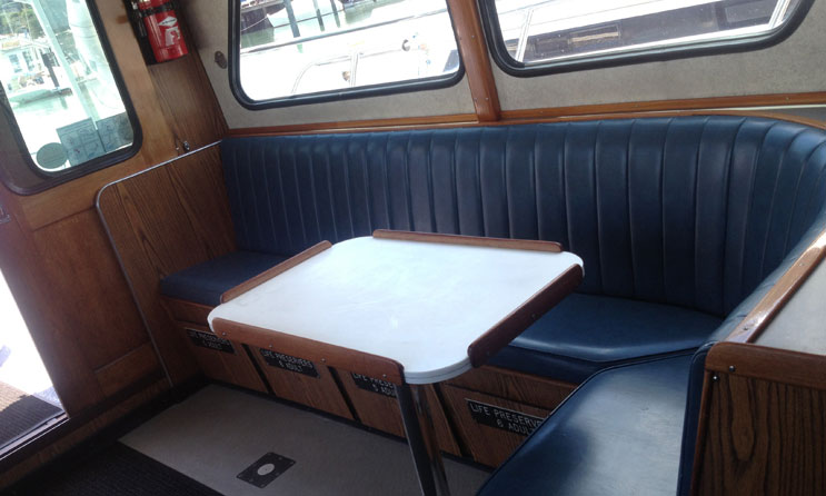 blue runner table in cabin